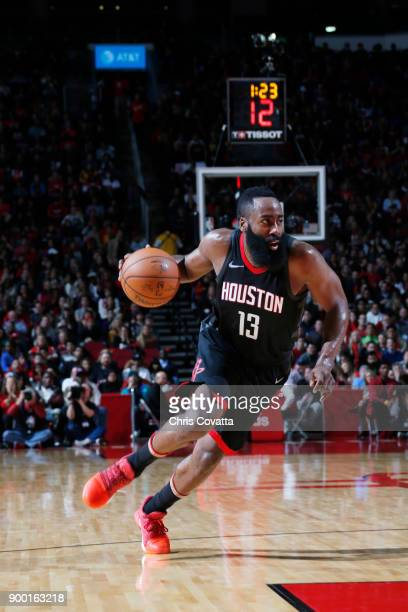 James Harden of the Houston Rockets drives to the basket against the Los Angeles Lakers on December 31 2017 at the Toyota Center in Houston Texas...