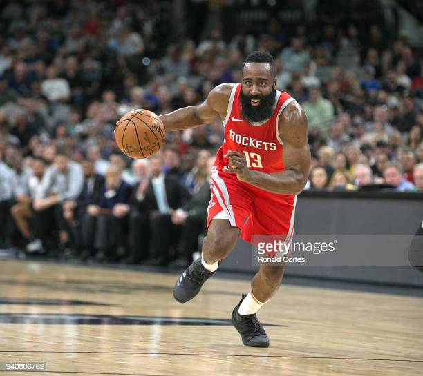 James Harden of the Houston Rockets drives to the basket against the San Antonio Spurs at ATT Center on April 1 2018 in San Antonio Texas NOTE TO...