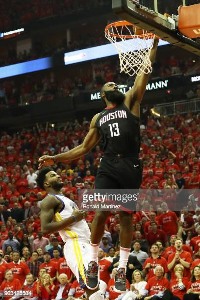 James Harden of the Houston Rockets dunks against Jordan Bell of the Golden State Warriors in the second quarter of Game Seven of the Western...
