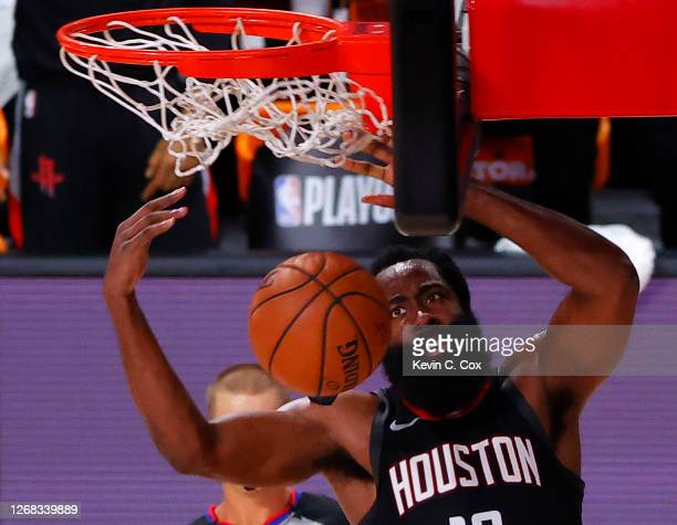 James Harden of the Houston Rockets dunks against the Oklahoma City Thunder during the second quarter in Game Four of the Western Conference First...