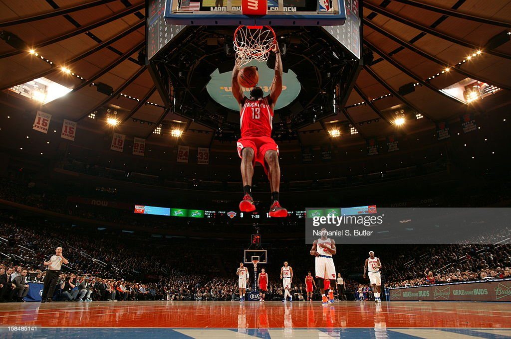 James Harden #13 of the Houston Rockets dunks in a game played against the New York Knicks on December 17, 2012 at Madison Square Garden in New York City.