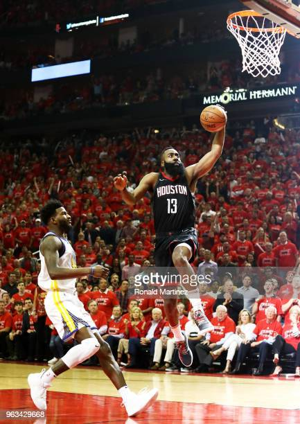 James Harden of the Houston Rockets dunks in the first half of Game Seven of the Western Conference Finals of the 2018 NBA Playoffs against the...