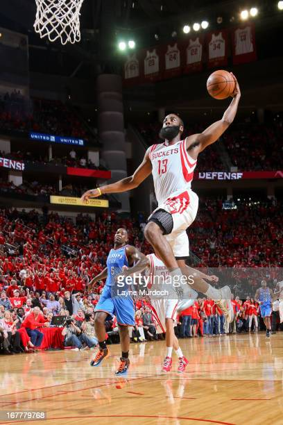 James Harden of the Houston Rockets dunks on a fast break against the Oklahoma City Thunder in Game Four of the Western Conference Quarterfinals...