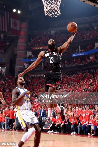 James Harden of the Houston Rockets dunks the ball against the Golden State Warriors in Game Seven of the Western Conference Finals during the 2018...