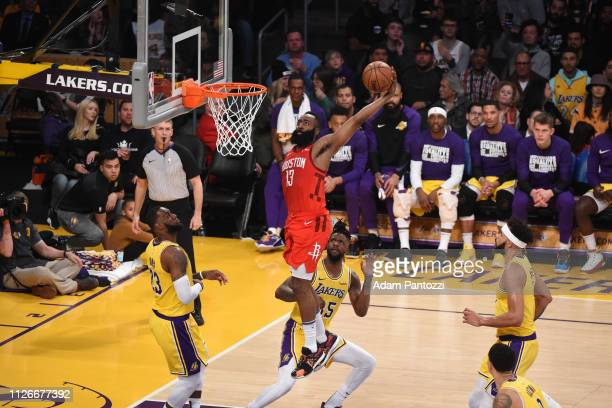 James Harden of the Houston Rockets dunks the ball against the Los Angeles Lakers on February 21 2019 at STAPLES Center in Los Angeles California...