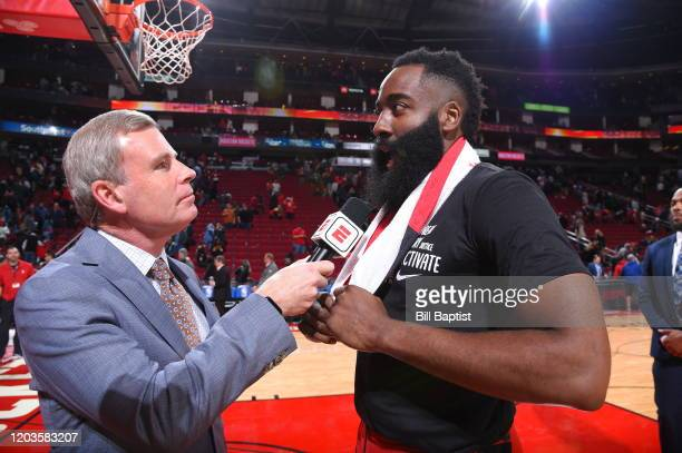 James Harden of the Houston Rockets gets interviewed after a game against the Memphis Grizzlies on February 26 2020 at the Toyota Center in Houston...