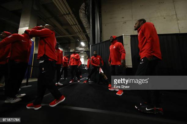 James Harden of the Houston Rockets gets ready for Game 4 against the Golden State Warriors of the Western Conference Finals at ORACLE Arena on May...