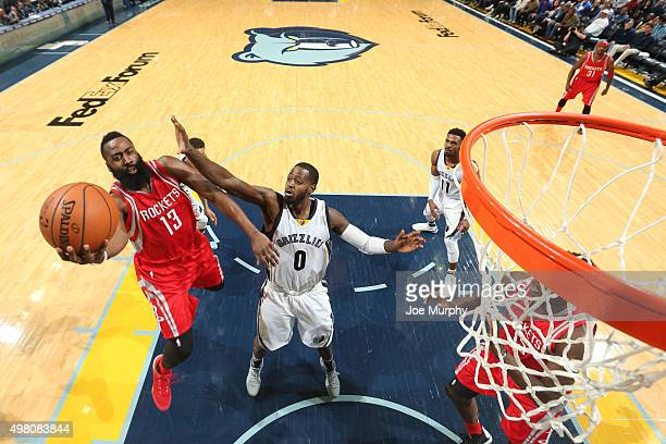 James Harden of the Houston Rockets goes for the layup against JaMychal Green of the Memphis Grizzlies during the game on November 20 2015 at FedEx...