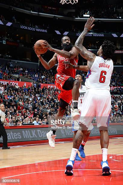 James Harden of the Houston Rockets goes for the layup against DeAndre Jordan of the Los Angeles Clippers during the game on January 18 2016 at...