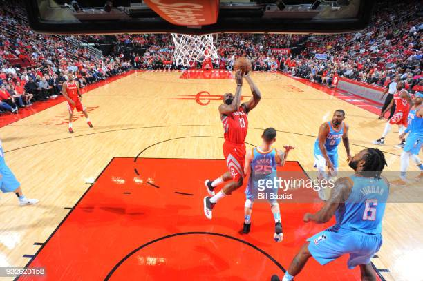 James Harden of the Houston Rockets goes to the basket against the LA Clippers on March 15 2018 at the Toyota Center in Houston Texas NOTE TO USER...
