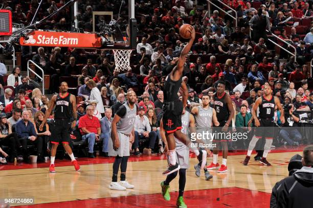 James Harden of the Houston Rockets goes up for a dunk against the Minnesota Timberwolves in Game One of Round One of the 2018 NBA Playoffs on April...