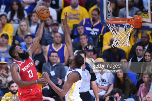 James Harden of the Houston Rockets goes up for a shot against Kevin Durant of the Golden State Warriors during Game Six of the Western Conference...