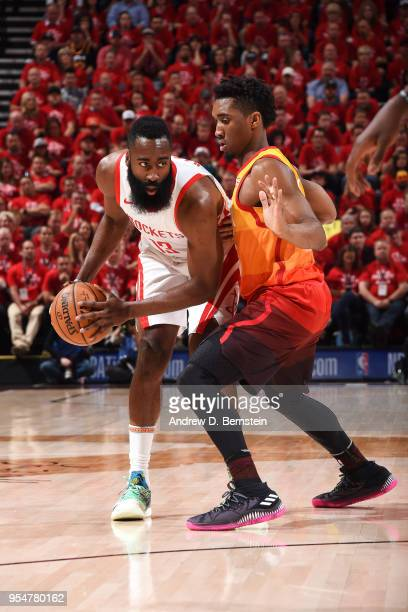 James Harden of the Houston Rockets handles the ball against Donovan Mitchell of the Utah Jazz during Game Three of the Western Conference Semifinals...