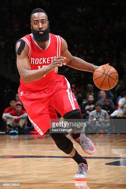 James Harden of the Houston Rockets handles the ball against the Washington Wizards at the Verizon Center on March 29 2015 in Washington DC NOTE TO...