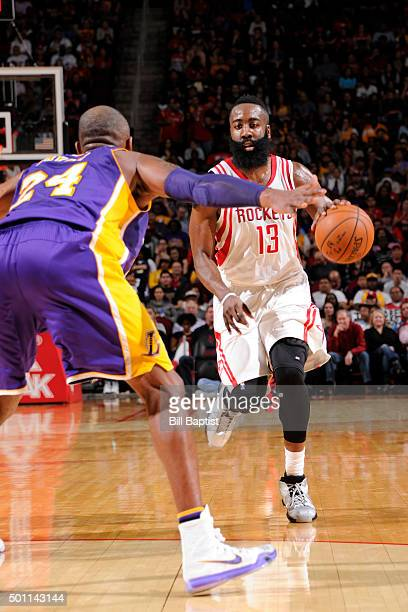 James Harden of the Houston Rockets handles the ball against the Los Angeles Lakers on December 12 2015 at the Toyota Center in Houston Texas NOTE TO...