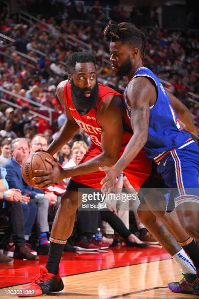 James Harden of the Houston Rockets handles the ball against the New York Knicks on February 24 2020 at the Toyota Center in Houston Texas NOTE TO...
