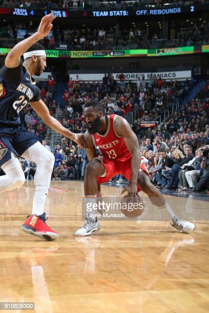 James Harden of the Houston Rockets handles the ball against the New Orleans Pelicans on January 26 2018 at Smoothie King Center in New Orleans...