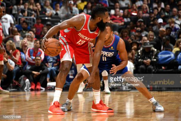 James Harden of the Houston Rockets handles the ball against the LA Clippers on October 21 2018 at Staples Center in Los Angeles California NOTE TO...