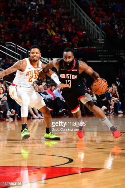 James Harden of the Houston Rockets handles the ball against the Atlanta Hawks on February 25 2019 at the Toyota Center in Houston Texas NOTE TO USER...