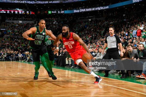 James Harden of the Houston Rockets handles the ball against the Boston Celtics on March 3 2019 at the TD Garden in Boston Massachusetts NOTE TO USER...