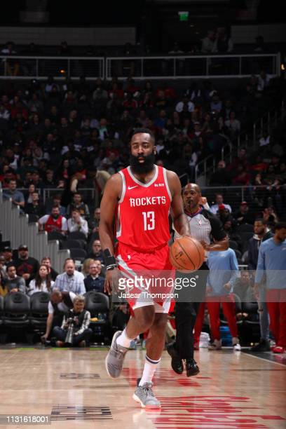 James Harden of the Houston Rockets handles the ball against the Atlanta Hawks on March 19 2019 at State Farm Arena in Atlanta Georgia NOTE TO USER...