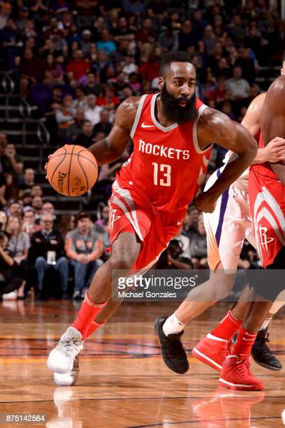 James Harden of the Houston Rockets handles the ball against the Phoenix Suns on November 16 2017 at Talking Stick Resort Arena in Phoenix Arizona...