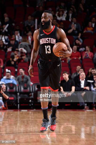 James Harden of the Houston Rockets handles the ball against the Orlando Magic on January 30 2018 at the Toyota Center in Houston Texas NOTE TO USER...