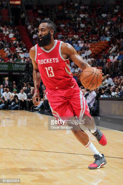 James Harden of the Houston Rockets handles the ball against the Miami Heat on February 7 2018 at American Airlines Arena in Miami Florida NOTE TO...
