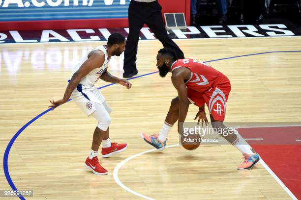 James Harden of the Houston Rockets handles the ball against the LA Clippers on February 28 2018 at STAPLES Center in Los Angeles California NOTE TO...