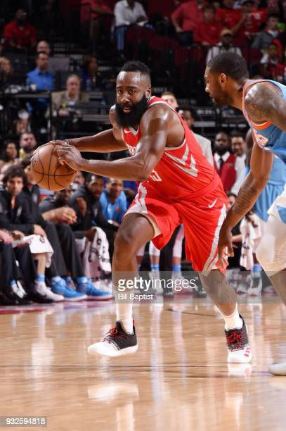 James Harden of the Houston Rockets handles the ball against the LA Clippers on March 15 2018 at the Toyota Center in Houston Texas NOTE TO USER User...