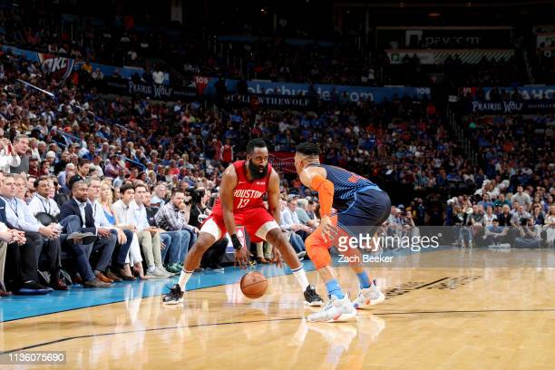 James Harden of the Houston Rockets handles the ball against the Oklahoma City Thunder on April 9, 2019 at the Chesapeake Energy Arena in Boston,...