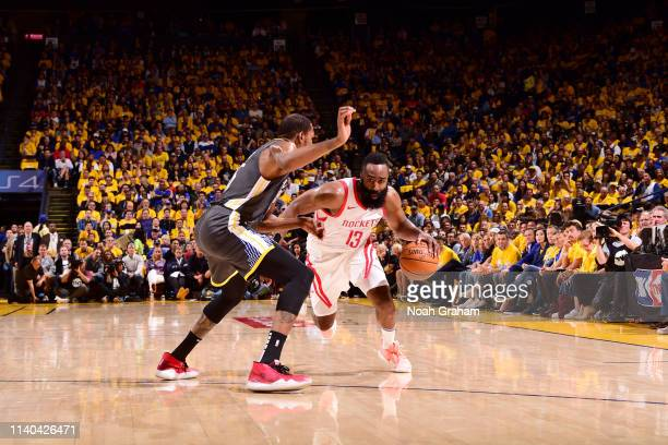 James Harden of the Houston Rockets handles the ball against the Golden State Warriors during Game Two of the Western Conference Semifinals of the...