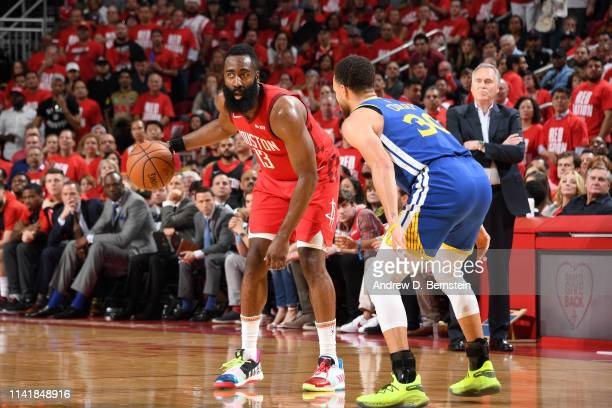 James Harden of the Houston Rockets handles the ball against the Golden State Warriors during Game Four of the Western Conference Semifinals of the...