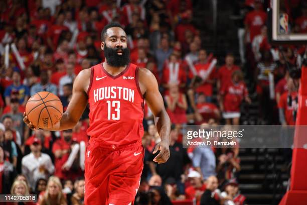 James Harden of the Houston Rockets handles the ball against the Golden State Warriors during Game Six of the Western Conference Semifinals of the...