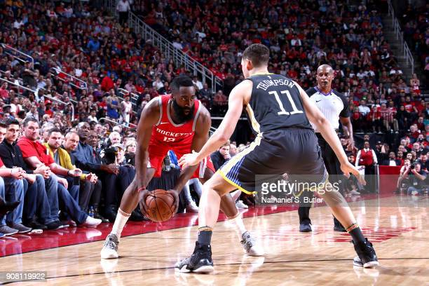 James Harden of the Houston Rockets handles the ball against the Golden State Warriors on January 20 2018 at the Toyota Center in Houston Texas NOTE...