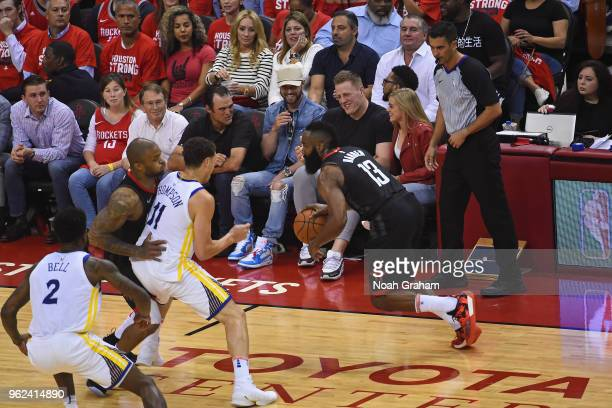 James Harden of the Houston Rockets handles the ball against the Golden State Warriors in Game Five of the Western Conference Finals during the 2018...