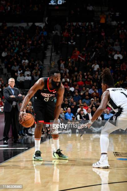 James Harden of the Houston Rockets handles the ball against the San Antonio Spurs on December 3 2019 at the ATT Center in San Antonio Texas NOTE TO...