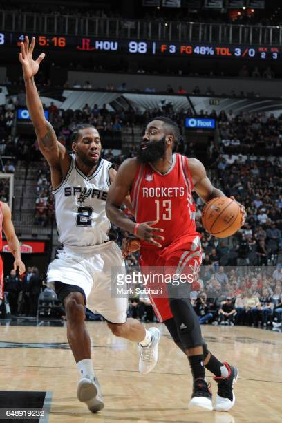 James Harden of the Houston Rockets handles the ball against the San Antonio Spurs on March 6 2017 at the ATT Center in San Antonio Texas NOTE TO...