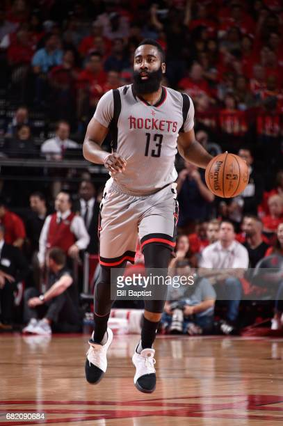 James Harden of the Houston Rockets handles the ball against the San Antonio Spurs during Game Six of the Western Conference Semifinals of the 2017...