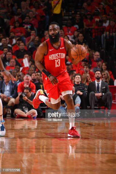 1150c36b9178 James Harden of the Houston Rockets handles the ball against the Utah Jazz  during Game One