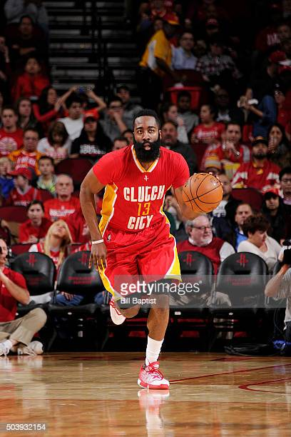 James Harden of the Houston Rockets handles the ball against the Utah Jazz on January 7 2016 at the Toyota Center in Houston Texas NOTE TO USER User...