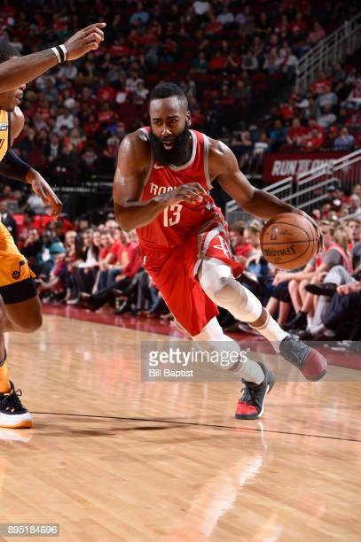 James Harden of the Houston Rockets handles the ball against the Utah Jazz on December 18 2017 at the Toyota Center in Houston Texas NOTE TO USER...