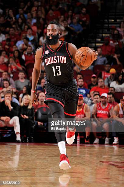 James Harden of the Houston Rockets handles the ball during a game against the Dallas Mavericks on October 30 2016 at the Toyota Center in Houston...