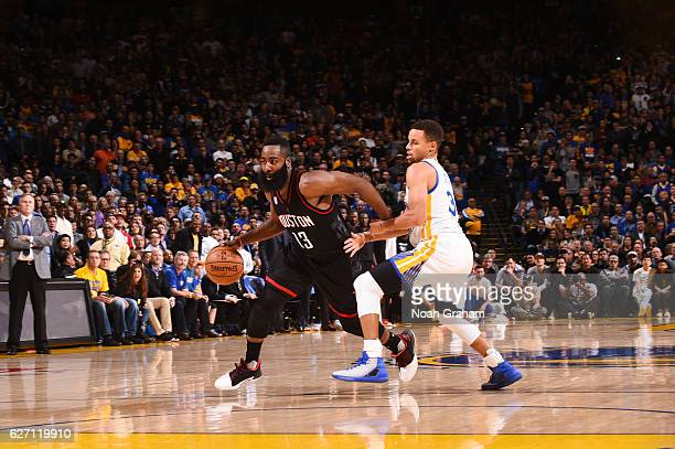 James Harden of the Houston Rockets handles the ball during a game against the Golden State Warriors on December 1 2016 at ORACLE Arena in Oakland...