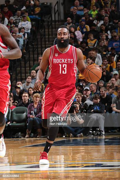 James Harden of the Houston Rockets handles the ball during a game against the Indiana Pacers on January 29 2017 at Bankers Life Fieldhouse in...