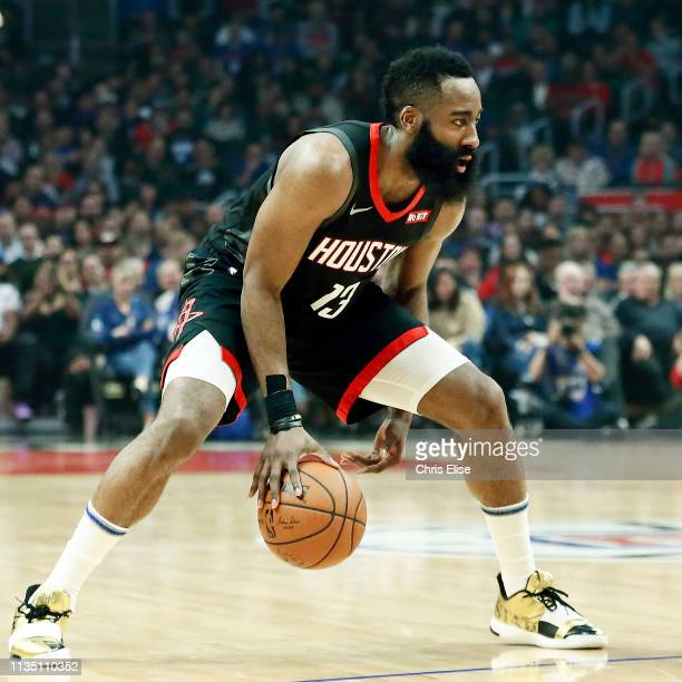 James Harden of the Houston Rockets handles the ball during the game against the LA Clippers on April 3 2019 at STAPLES Center in Los Angeles...