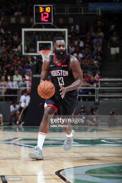 James Harden of the Houston Rockets handles the ball during the game against the LA Clippers on October 3, 2019 at the Stan Sheriff Center, Hawaii....