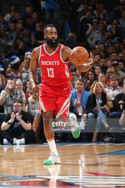 James Harden of the Houston Rockets handles the ball during the game against the Oklahoma City Thunder on December 25 2017 at Chesapeake Energy Arena...