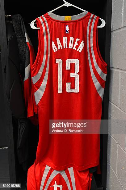 James Harden of the Houston Rockets hangs in his locker before the game against the Los Angeles Lakers on October 26 2016 at STAPLES Center in Los...