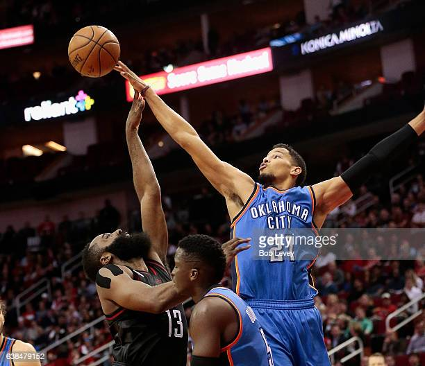 James Harden of the Houston Rockets has his shot attempt blocked by Andre Roberson of the Oklahoma City Thunder at Toyota Center on January 5 2017 in...